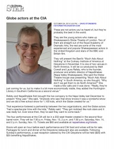 Globe actors at the CIA : St. Helena Star