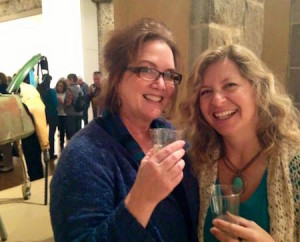 Two lovely groundlings celebrate the Twelfth Night screening success at an after-party at Caldwell-Snyder Gallery in St. Helena.