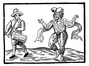 This contemporary woodcut  shows English Elizabethan clown Will Kempe dancing a jig from Norwich to London in 1600.