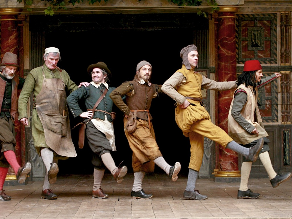 """The """"Rude Mechanicals"""" perform a merry jig at the Globe Theatre"""
